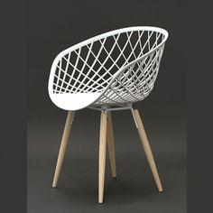 chaise transparente assise noire pieds acier blanc 椅子