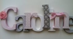 "Nursery wooden  wall letters in pink and gray nursery letters child's name 8 "" wall letters initial monogram on Etsy, $16.00"