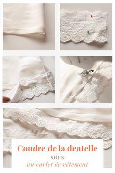 Je vous explique dans mon article de blog, comment coudre de la dentelle sous un ourlet de vêtement. Que ce soit un bas de jupe, de robe, de blouse, ou de manche.