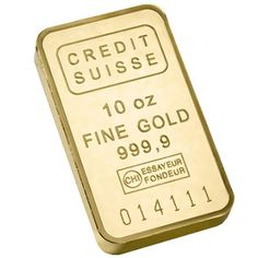 Gold Bar 10oz. A cost-efficient and attractive way to acquire Gold bullion, this Gold bar features a design of Credit Suisse logos on the reverse.  This 10 oz Gold bar is guaranteed by Credit Suisse to be .9999 fine and comes to you with the weight and purity stamped directly into the bar.