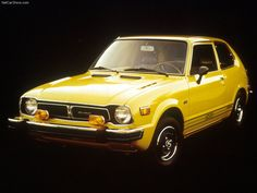"1975 Honda Civic CVCC hatchback. My sisters shared this car, and it was my first manual stickshift experience. Fun, zippy and efficient, plus it was the rare car of the time that met pollution standards without a catalytic converter. Sipped very little fuel, and it was regular, not unleaded. (Yeah, I'm old enough to be one of those who was confused by the concept of ""regular unleaded."""