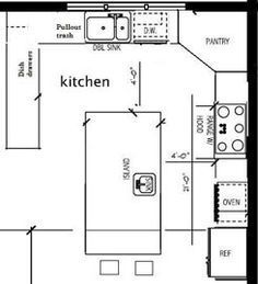kitchen design layout. Placement of stove  sink ref Image result for 12 x kitchen design layouts with island 10K Kitchen Remodel Island Design