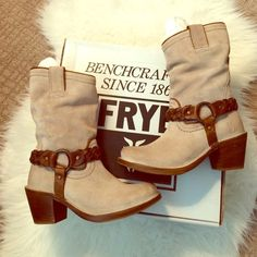 """🎉NWT Frye Harness Leather Boot Size 5.5 Brand NEW in box!  Super soft and perfect suede Frye """"Carmen"""" Harness boot with brown braided leather harness detail.  Love these but have never worn!  Color is listed as grey but looks more tan/neutral.  Amazingly comfortable!! Frye Shoes Heeled Boots"""
