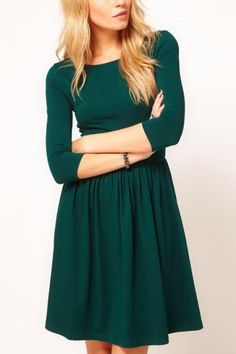 $20.99 Dark Green Half Sleeves Simple Dress @ MayKool.com