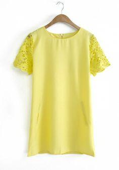 Yellow Blending Round Neck Short Sleeve Plain Tops