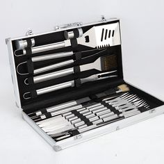 BBQ Tools Barbecue Grill Tool Set Stainless Steel Utensils Case US for sale online Set Barbecue, Bbq Grill, Best Christmas Presents, Christmas Gifts For Girlfriend, Bbq Tool Set, Weber Bbq, Stainless Steel Grill, Cooking On The Grill, Garden Supplies