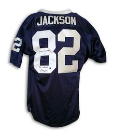 autographed kenny jackson penn state university navy blue throwback jersey inscribed 82 national champs