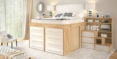 Get space saving innovative Impero-Young Bed with solid laminated beech wood desk at ITALform Design. The Impero-Young family is the best space saving choice for your children's bedroom! Space Saving Beds, Space Saving, Bed With Slide, Bedroom Design, Bed Design, Space Saving Furniture, Bed Storage, Bed With Drawers, High Beds