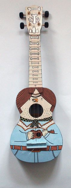 Ukulele bones - front Iris Boudreau Way Cool! Ukulele Art, Ukelele, Guitar Art, Acoustic Guitar, Violin, Skateboard, Thrasher, Totoro, Painted Ukulele