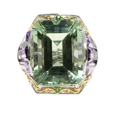 Michael Valitutti Palladium Silver Amethyst, Brazilian Amethyst and Chrome Diopside Ring (Size ), Women's