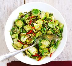 Flavour versatile Brussels sprouts with mirin, soy, sesame and chilli and serve as a healthy side di Bbc Good Food Recipes, Delicious Vegan Recipes, Dairy Free Recipes, Vegetarian Recipes, Cooking Recipes, Healthy Recipes, Quick Recipes, Healthy Sides, Healthy Side Dishes