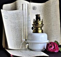 Vintage French Oil Lamp. White Milk Glass Oil Lamp. Vintage Oil Desk Lamp. White Glass Oil Lamp. Hurricane Lamp. French Kerosene Lamp. by BlancVintageEmporium on Etsy
