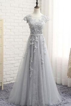 Custom Made Outstanding Prom Dresses Lace, Gray Round Neck Lace Applique Long Prom Dress, Gray Evening Dress Prom Dresses With Sleeves, Tulle Prom Dress, Modest Dresses, Pretty Dresses, Beautiful Dresses, Dress Lace, Party Dress, Grey Prom Dress, Gray Gown