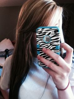 My hair, blonde with black underneath and brown highlights!