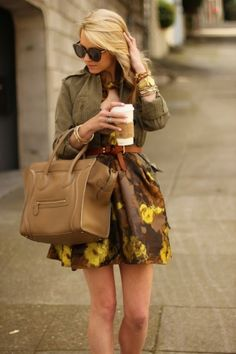 floral skirt + Celine bag This outfit represents analogous because if the colour schemes used. Green and yellow are neighbours creating a different affect on the outfit.