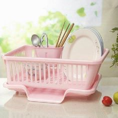 Amazon.com: Dish Plate Spoon Rack Holeder Kitchen Accessories Space Saving Organizer Set of 2 Pink: Home & Kitchen