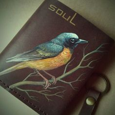 Updates from SoulLeatherCraft on Etsy Small Leather Bag, Leather Art, Painting Leather, Fabric Painting, Diy Leather Earrings, Leather Jewelry, Leather Clutch, Loro Animal, Kitchen Posters