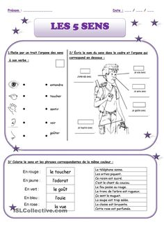 The 5 senses - Julie - - Les 5 sens The 5 senses. Vocabulary and exercise French Language Lessons, French Language Learning, Learn A New Language, French Lessons, French Teaching Resources, Teaching French, Teaching Tools, French Flashcards, French Worksheets