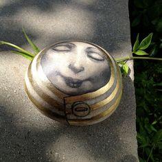 hand painted, hand gilded beach stone  ORIGINAL ART OOAK $250