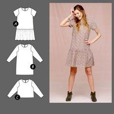 Kjole med volang og bluse