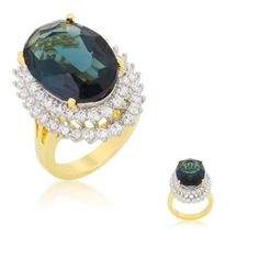 Jewelry - Two-Tone Double Halo Cocktail Ring