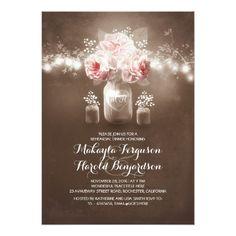 rustic mason jar barn wedding rehearsal dinner card