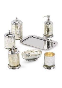 Bath accessories toothbrush holders and mercury on pinterest for Silver crackle glass bathroom accessories