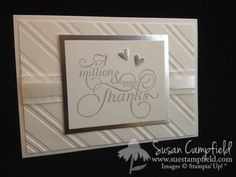 Wedding Thank You Cards, Handmade Wedding cards are the best! Simple and elegant. www.suestampfield.com