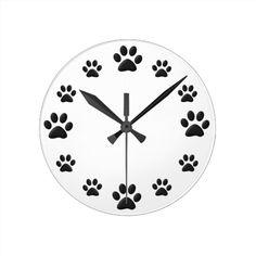 Paw Prints Wall Clock
