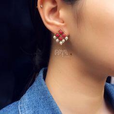 Red Resin Stone and Pearl Stud Earrings - Art Jewelry Women Accessories Jewelry Design Earrings, Gold Earrings Designs, Diy Earrings, Jewelry Art, Women Jewelry, Ruby Necklace, Pearl Stud Earrings, Pearl Studs, Gold Earrings For Women