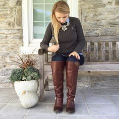 """""""Fall = sweaters and boots #ootd #jotd #wiwn #sotd #a_classic_touch #prep #preppy #fallfashion #fblogger #fashionblogger #ridingboots #wearwhatwhereoctober #sweaterweather #fall"""" Photo taken by @a_classic_touch on Instagram, pinned via the InstaPin iOS App! http://www.instapinapp.com (10/15/2015)"""