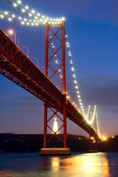 "Lisbon - April""'s Bridge, Portugal. European version of San Francisco's Golden Gate bridge. portugal travel tips Sintra Portugal, Visit Portugal, Portugal Travel, Spain And Portugal, Places Around The World, Travel Around The World, Around The Worlds, Algarve, Wonderful Places"