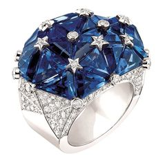 Chanel Joaillerie - White gold Facettes ring with white diamonds and 27 fancy-cut sapphires. Photo courtesy press office