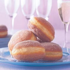 Berliner with strawberry filling - Beignets, Nutella, German Baking, German Cake, Cake Factory, Strawberry Filling, Homemade Donuts, German Kitchen, Bread And Pastries