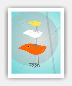 THREE TWEETS Mid Century Modern Style Birds 8x10 by PosterPOP2, $11.95