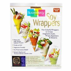 Looking for a delicious alternative to make sushi or wrap? Try these colorful wrappers! They are gluten free and are made with high quality soybean. With no preservatives added, they are ready to use.