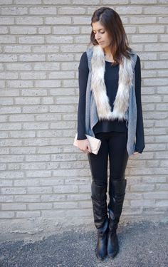 "Skies are Blue ""Emira"" fur trimmed vest--got this in my last Stitch Fix box, it is so cute!!"