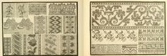 Embroidery stitches and patterns from Patterns for Needlework, a book in the public domain. Download this ebook here:  https://archive.org/stream/patternsforneedl00pat