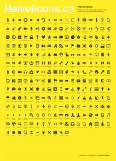 Helveticons is a new set of royalty-free icons, glyphs and symbols based on the Helvetica Bold typeface. 245 icons with many options suitable for web or iPhone app interfaces. The set comes in 7 file formats and sells at Helveticons. Helvetica Bold, Royalty Free Icons, 2d Design, Pictogram, Visual Communication, Glyphs, Graphic Design Inspiration, Typography, Game Item