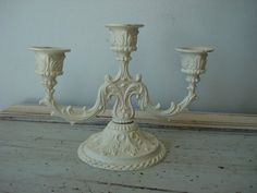 shabby-chic ornate candle holder/white iron by ComfortablyVintage