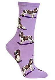 This spaniel is all Lady and no Tramp, with her sweet expression and puppy dog eyes. Wearing these may leave you craving spaghetti. Lavender sock with full color graphics. 46% cotton, 33% polyester, 19% nylon, 2% spandex. Fits approximate women's shoe sizes 4–10.