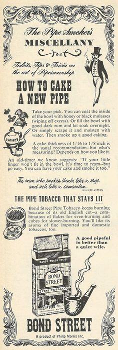 1962 ad: Bond Street Pipe Tobacco | Vintage Ads | Pinterest