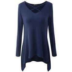 d32cd73a8c79 iShine Damen Bluse Kleid Langarmshirt Kleid V-Ausschnitt Shirt Top Bodycon  Minikleid Casual-Dunkelblau