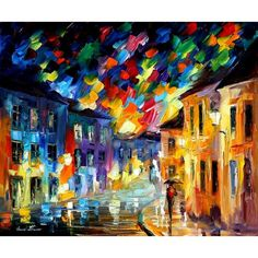 ON SALE! - Lights and Shadows - $39.99 - City Lights - Hand Painted - Oil Paingings for Sale - Oil on Canvas - Cheap Canvas Art