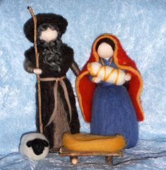 Nativity Scene, Mary and Joseph, Christmas, Angel, Blessing, Waldorf Doll, Magic Wool, needle felted. $59.00, via Etsy.