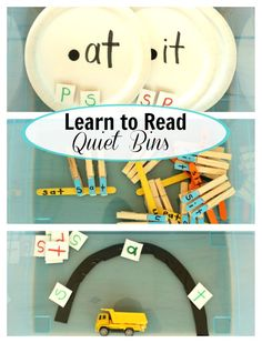 Lots of ideas for how to teach kids to read. These learn to read quiet bins are great for having little ones practice skills independently.