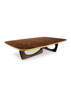 The chic walnut root table top and the elegant wood structure of SHERWOOD Coffee Table make it ideal for a mid century modern decor. http://www.brabbu.com/en/casegoods/sherwood-center-table/