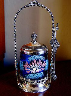 Victorian Antique Pickle Castor Blue Enameled Jar | eBay