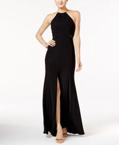 Xscape Illusion Side-Slit Necklace Halter Gown   macys.com