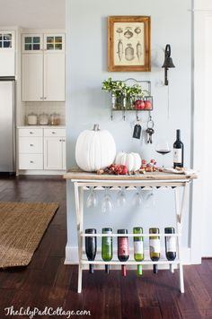 Fall Home Tour - The Lilypad Cottage. I just really like that wine bar. Maybe get creative and DIY! Autumn Home, Cozy House, House Tours, Home Projects, Farmhouse Decor, The Help, Sweet Home, New Homes, Room Decor